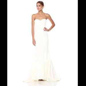 Nicole Miller Ivory Dakota Silk Faille Gown